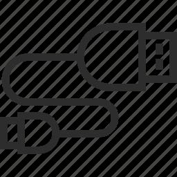 cord, technology, transfer, usb icon