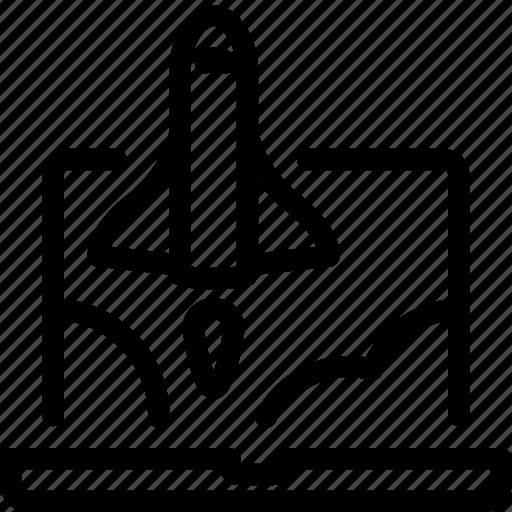 announcement, automatization, launch, marketing, proactive, promotion, rocket icon