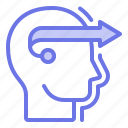 forward, head, move, thinker, thinking icon