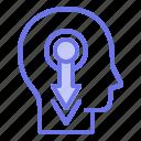 downgraded, head, mind, thinker, thinking icon