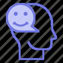 happy, head, mind, thinker, thinking icon
