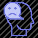 head, mind, sad, thinker, thinking icon
