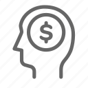 coin, dollar, finance, money, payment, thinking icon