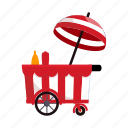 counter, food, hot dog, kiosk, stall, street vending icon