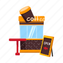 coffee, counter, drink, kiosk, stall, street vending icon