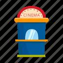 ticket, kiosk, cinema, ticket office, street vending icon