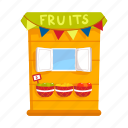 counter, food, fruit, kiosk, stall, street vending icon