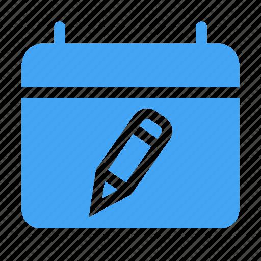 calender, date, day, event, pencil, write icon