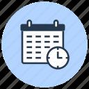 calendar, clock, date, management, time icon