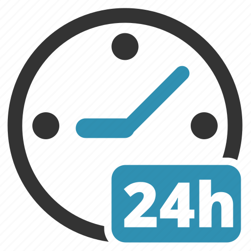 availablity, clock, time, whole day icon