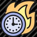 business, clock, deadline, fire, limit, management, time icon
