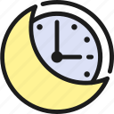 business, clock, line, management, moon, night, time icon
