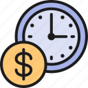 business, clock, coin, line, management, money, time icon