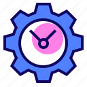 clock, gear, time, watch icon