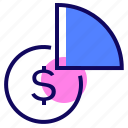 analytics, coin, diagram, money icon