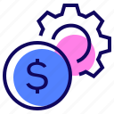 coin, finance, gear, money icon
