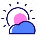 cloud, day, shining, sun icon