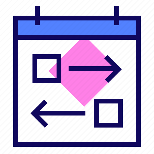 arrows, calendar, flexible, tasks icon