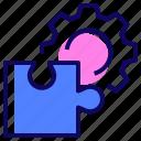 cogwheel, gear, puzzle, solutions icon