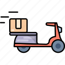 bicycle, bike, box, delivery, package, transport, transportation icon