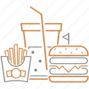 burger, food, fries, happy, meal, package, soda icon