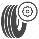 change, fix, recap, spare wheel, tire, tyre, wheel icon