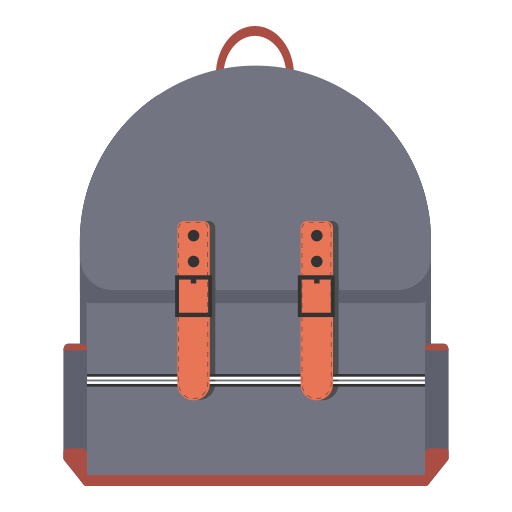 backpack, knapsack, school, schoolbag, travel, trip icon