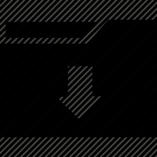 arrow, direction, down, download, folder icon