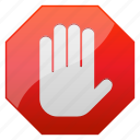abort, cancel, danger, error, forbidden, hand, message, no, pause, security, signal, stop, stop hand, terminate, warning icon