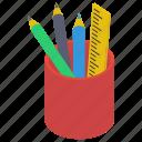 pen case, pen cup, pencil holder, pencil pot, stationery holder icon