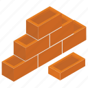 brick texture, brick wall, bricklayer, brickwork, masonry, wall construction icon