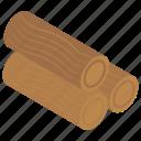 deforestation, logging, lumberjack, wood bar, wooden logs icon