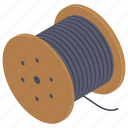 bobbin, cable reel, cable roll, cord roll, wire reel, wire roll icon