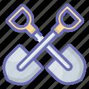 construction equipment, construction tool, gardening tool, shovel, spade icon