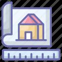 architecture, blueprint, construction, construction measurement, home planning, house plan icon