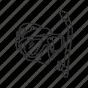 goggles, scuba goggles, scuba mask, snorkel icon