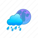 blue, cloud, cloudy, moon, rain, rainy, weather icon