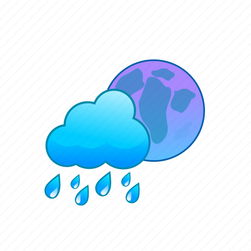 blue, cloud, cloudy, moon, rain, rainy, weather icon