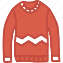 apparel, clothes, sweater, top, winter icon