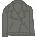 apparel, clothes, jacket, leather icon