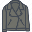 apparel, clothes, filled, jacket, leather, outline icon