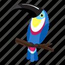 branch, cartoon, floral, flower, logo, tattoo, toucan icon