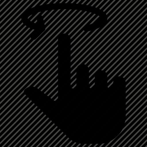 fingers, gesture, hand, round, swipe icon