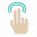 double, gesture, hand, interface, tap, touch, two finger icon