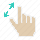 gesture, hand, interface, tap, touch, two finger, zoom in icon