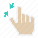 gesture, hand, interface, tap, touch, two finger, zoom out icon