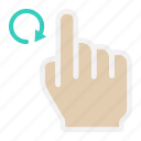 finger, gesture, hand, interface, rotate right, tap, touch icon