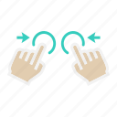 finger, gesture, interface, tap, touch, two hand, zoom out icon