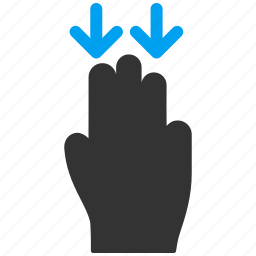 down, hand, mobile gesture, move, shift, slide, touch gestures icon