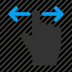 finger, hand, left, mobile gesture, right, shift, slide icon